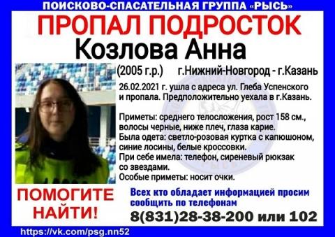 Пропавшая 16-летняя нижегородка могла уехать в Казань