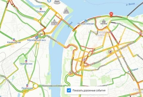 Серьезные пробки образовались в Нижнем Новгороде вечером 30 июля