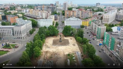 Благоустройство сквера на площади Горького сняли с высоты