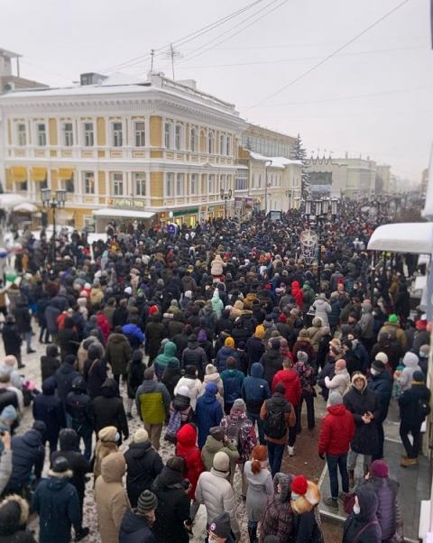 «Тьма-тьмущая»: как Нижний Новгород митинговал в поддержку Навального